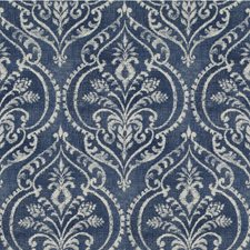 Blue/Ivory Damask Drapery and Upholstery Fabric by Kravet