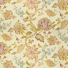 White/Green/Pink Botanical Drapery and Upholstery Fabric by Kravet