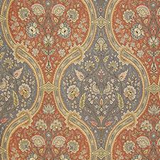 Terra Cotta/Peacock Drapery and Upholstery Fabric by Scalamandre
