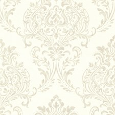 Taupe Damask Wallcovering by Brewster