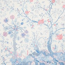 Blue/Red Wallcovering by Schumacher Wallpaper