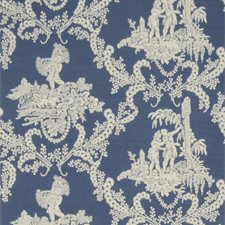 Blue Toile Wallcovering by Stroheim Wallpaper