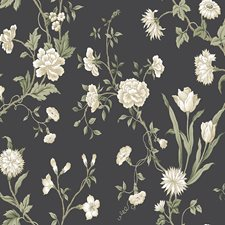 Charcoal/White/Beige Botanical Wallcovering by York