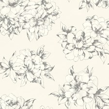 Warm White/Lead Gray Floral Medium Wallcovering by York