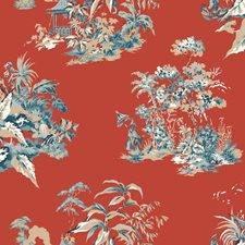 Red Orange/Blue Traditional Wallcovering by York