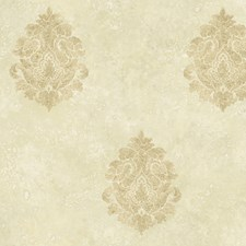 Neutral Medallion Wallcovering by Brewster