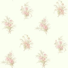 White/Pink/Coral Floral Wallcovering by York