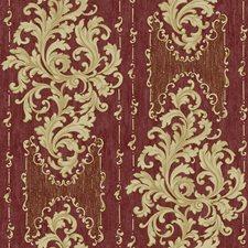 Scarlet Red/Ecru/Gold Sheen Damask Wallcovering by York