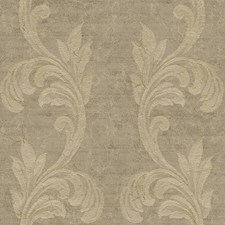 Camel-hair Gold/Silver Metallic/Muted Brown Scroll Wallcovering by York
