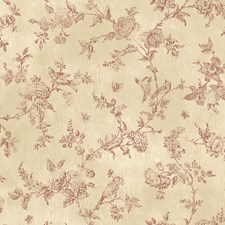 CCB02191 French Nightingale Dark Red Toile by Brewster