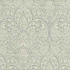 Metallic Gray/White Damask Wallcovering by York