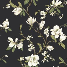 Black/White/Yellow Floral Wallcovering by York