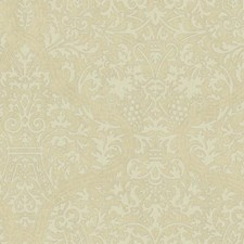 Beige/Cream/Metallic Silver Damask Wallcovering by York