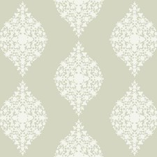 White Glass Beads On Warm White Damask Wallcovering by York