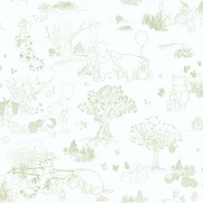 White/Green Toile Wallcovering by York