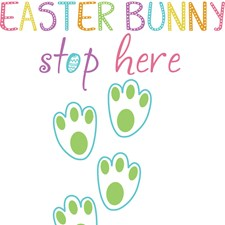 DWPQ2407 Easter Bunny Stop Here Wall Quote by Brewster