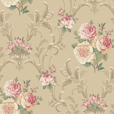Tan/Peach/Dark Red Floral Wallcovering by York