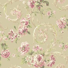 Pale Gold/Pink/Peach Floral Wallcovering by York