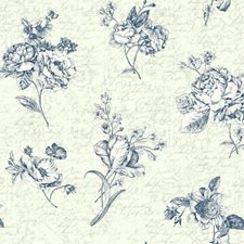 Cream/Pearlescent Ivory/Ink Blue Floral Wallcovering by York