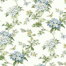 White/Cream/Blues Botanical Wallcovering by York