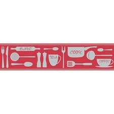 FDB50047 Red Cook Peel & Stick Border by Brewster