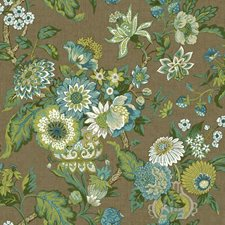 Brown/Aqua/Teal Floral Wallcovering by York