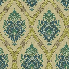 Beige/Tan/Blue Damask Wallcovering by York