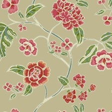 Light Tan Satin/Red/Coral Floral Wallcovering by York