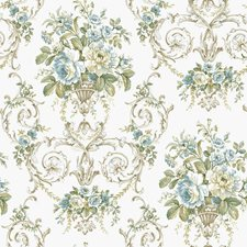 Off White/Teal/Green Floral Medium Wallcovering by York