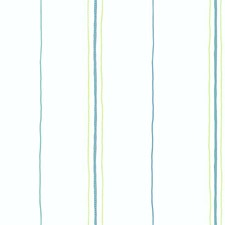 Off-white/Aqua/Green Sure Strip Wallcovering by York