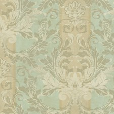 Soft Spa Green/Taupe/Winter White Damask Wallcovering by York