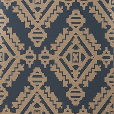 Indigo Geometric Wallcovering by Groundworks