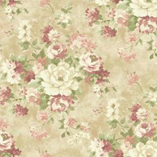 Cream/Beige/Light to Dark Pink Floral Wallcovering by York