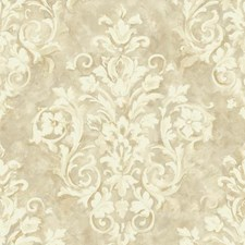 White/Cream/Taupe Damask Wallcovering by York