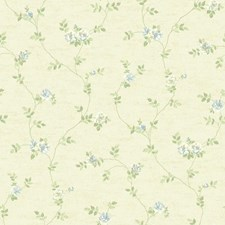 Beige/Light and Medium Blue/Light and Medium Green Floral Wallcovering by York