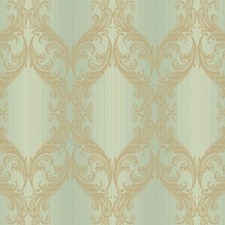 Aqua/Gold Scroll Wallcovering by York