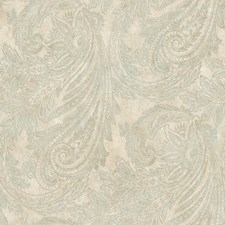 Gold/Cream/Aquamarine Paisley Wallcovering by York