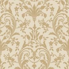 Cream/Butterscotch/Pale Gold Satin Damask Wallcovering by York