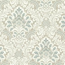 Blues/White/Off Whites Damask Wallcovering by York