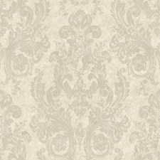Silvery White/Dull Pewter Damask Wallcovering by York