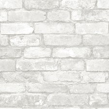 NU1653 Grey and White Brick Peel & Stick by Brewster