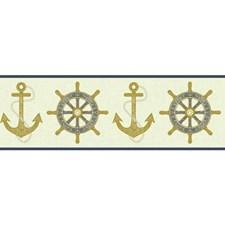 Cream/Beige/Navy Blue Raised Prints Wallcovering by York