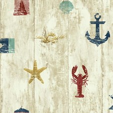 Beige/Cream/Red Novelty Wallcovering by York