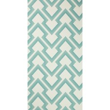 Aqua Geometric Wallcovering by Brunschwig & Fils