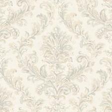 Dove Gray/Heavy Cream/Aquamarine Acanthus Wallcovering by York