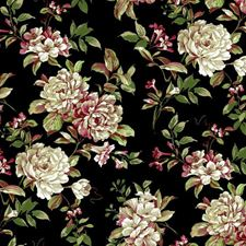 Black/White/Coral Floral Medium Wallcovering by York