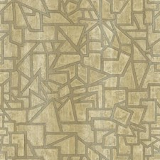 Beige/Taupe/Metallic Silver Geometrics Wallcovering by York