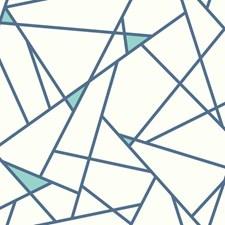 Blue/White Geometrics Wallcovering by York