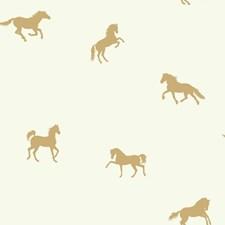 White/Metallic Gold Animals Wallcovering by York