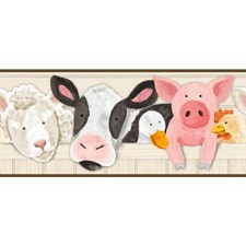 Beige/White/Black Animals Wallcovering by York